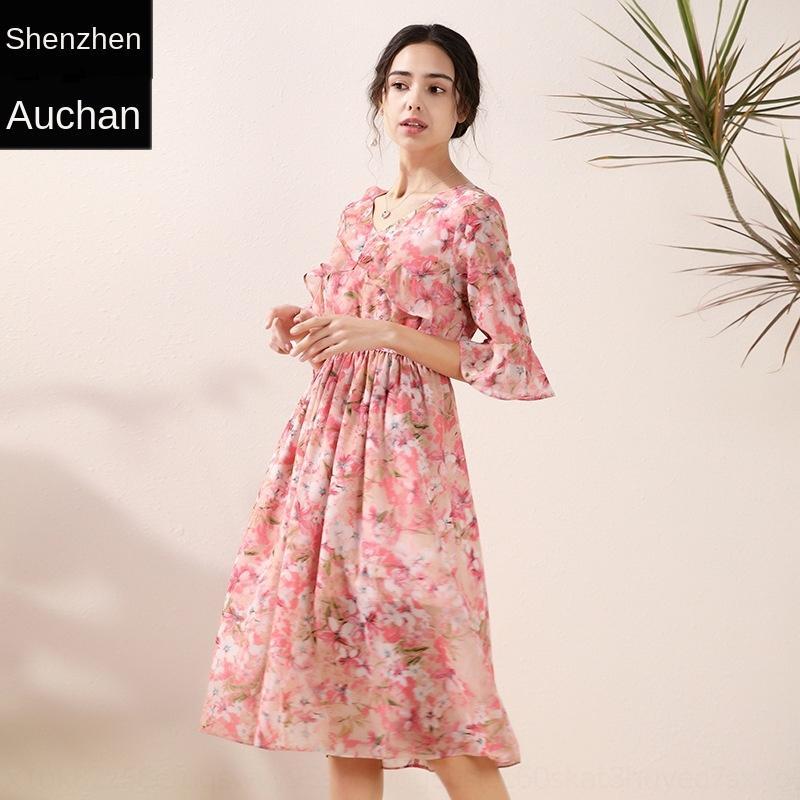 wa5Lp rMLvy kurzärmelige Blumen Taille schlank Kleid Chiffon der Frauen 2020 neu elegantes Slim-Fit-Kleid Sommer-Mode