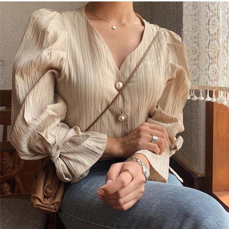 Чужеродное Китти Корейского 2020 ретро Elegance Повседневной Сладкая Твердая Pearls Chic Fresh Высокого качество Сыпучего Винтаж Все Match Женских рубашек nHtY #