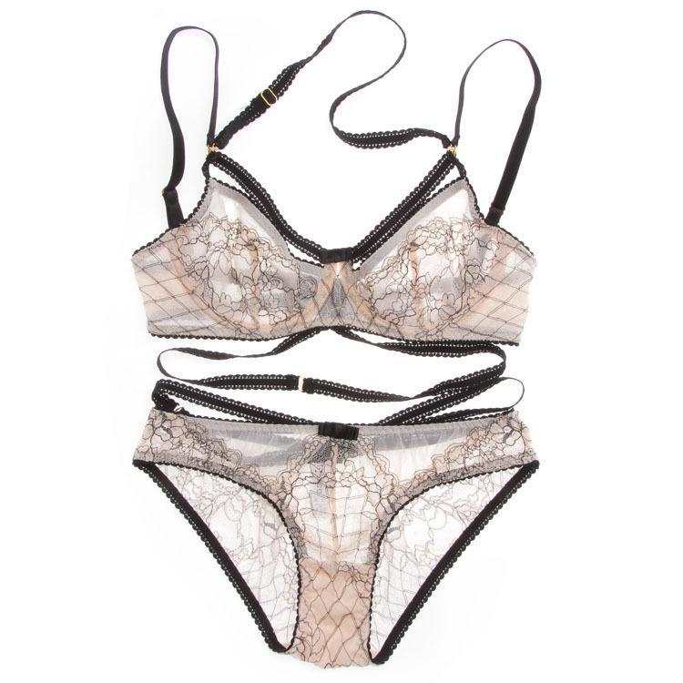 Euramerican Intimates transparente sexy Bra Set plus size mulheres gaze ultra-fina bra set cueca oco rendas fora e Panty Set