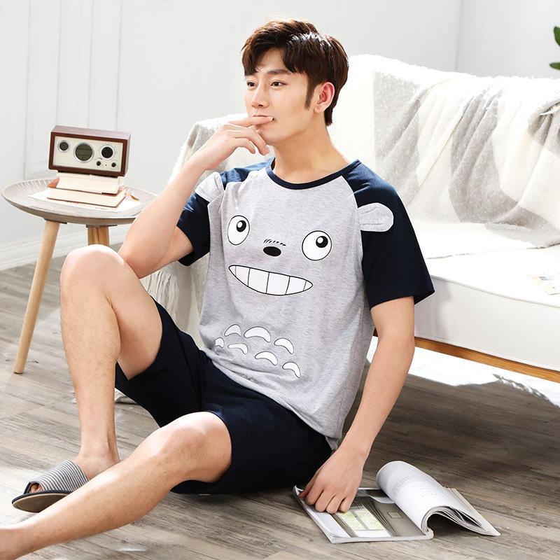 KVjeb Мужские летний с коротким рукавом шорты плюс пижаму стиля дома тонкого размера шорты хлопок случайные пижамы корейского костюм