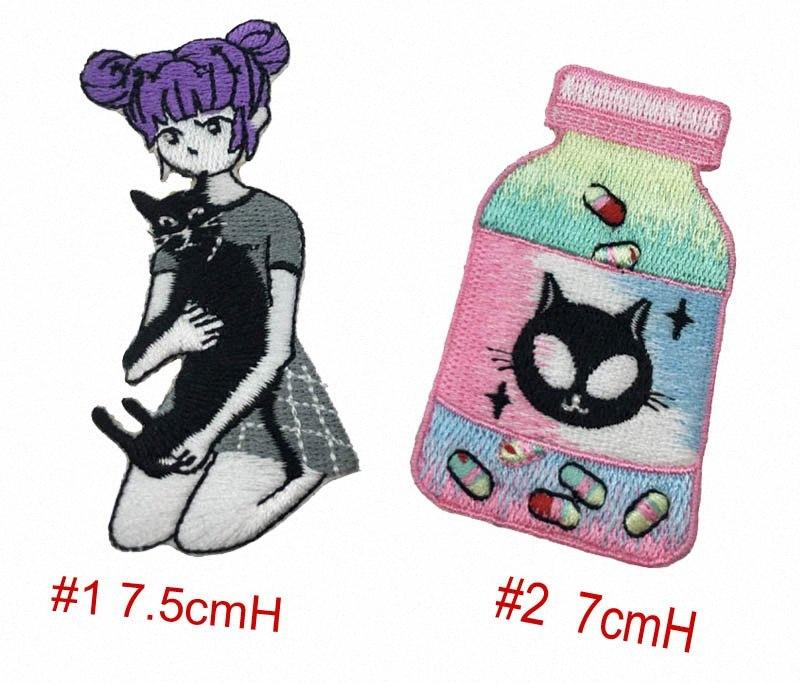 For A Cute Girl With Black Cat DIY Applique Customise Embroidered Iron Sew On Jacket or Bag Cap Patches 6PXA#