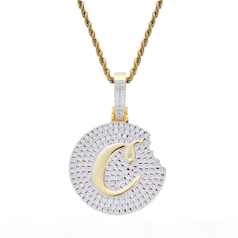 Cookie ожерелье позолоченный медный инкрустированные фианитами 60см из нержавеющей стали цепи Hip Hop Ювелирные изделия