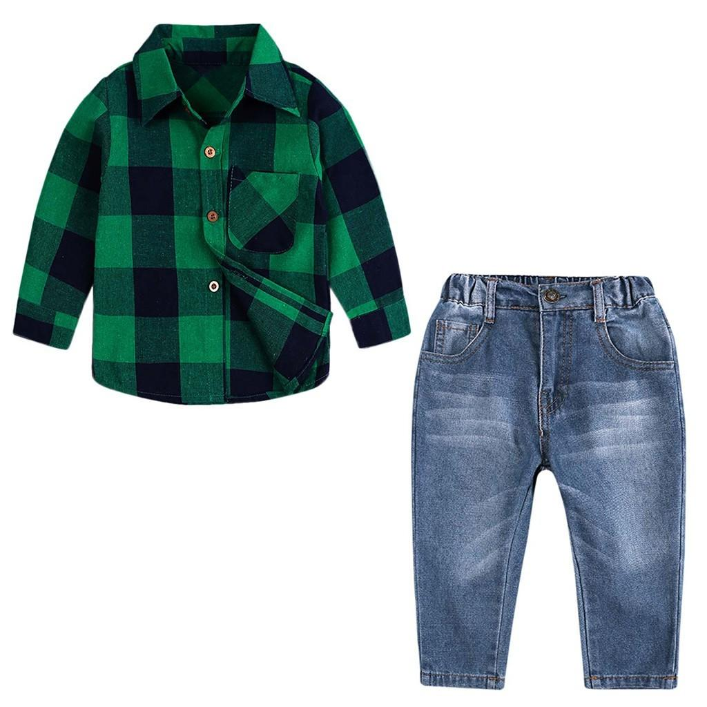 Free Shipping Fashion Lovely Baby 2PCS Children Kids Boys Girls Long Sleeve Plaid Shirt Tops+Denim Pants Jeans Set Z0129