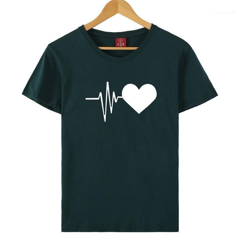 Elektrokardiyogram Baskılı Bayan Casual Bayan Giyim Yaz Kadın Tasarımcı tişörtleri Gevşek O Boyun Katı Renk Tops
