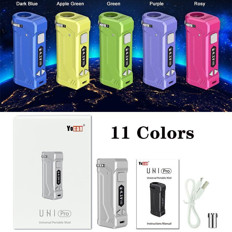 YOCAN UNI PRO MOD 650MAH Boîte Mods E-Cigarette Kits Préchauffez la batterie pour toutes les cartouches de cartouches Atomiseurs d'huile Tension Réglable Vape Stylo original