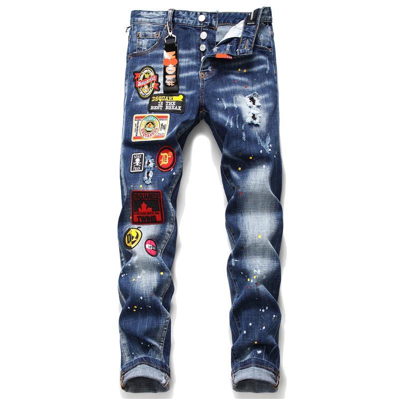 Los nuevos pantalones vaqueros flacos hombres estiran los pantalones vaqueros rasgados rasgados impresos para los hombres pintan pantalones masculinos ropa streetwear el otoño del resorte MX200814 hip hop