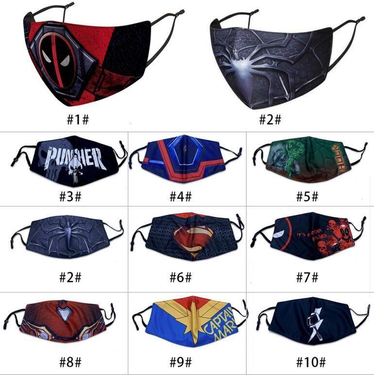 diseñador caliente mascarilla máscara adlut montar protección contra el frío nuevo Spiderman Batman superhéroes escudo capitán mascarilla para niños punisher Deadpool Marvel