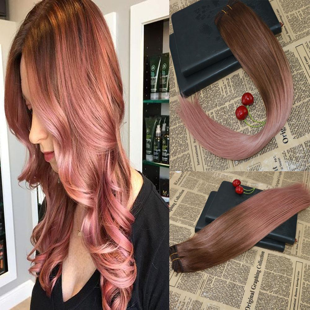 BALAYAGE Gerçek İnsan Saç Dokuma Rose Gold Virgin Remy Atkı Saç Uzantıları İşlenmemiş Slik Düz Paketler kâğıt oyunu Saç Uzantıları