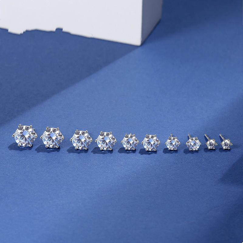 plata de ley s925 clásico de seis garra en forma de corazón con diamantes incrustados aretes de plata con estilo de Corea de la moda pendientes de circón de las mujeres