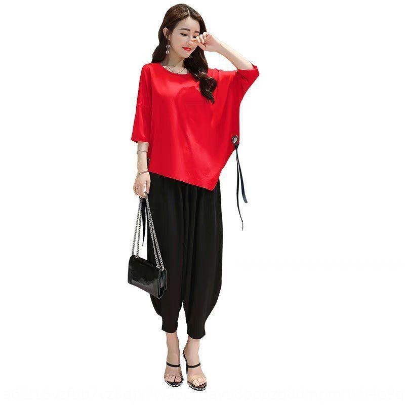N9IJ4 2020 yeni batılı kadın tişört yağ takım elbise mm pantolon tişört geniş bacak pantolon ve yaz Kore tarzı gevşek moda Turp geniş bacak bahar