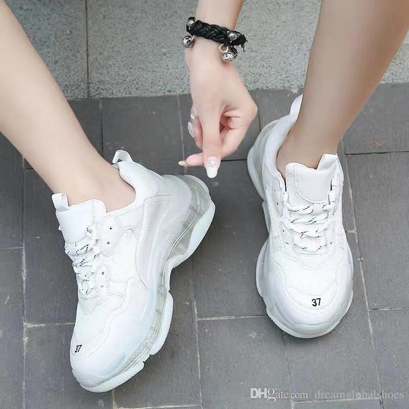 2019 Paris Üçlü -S 17fw Kristal Alt Yeşil Lüks baba Ayakkabı Platformu Üçlü S Sneakers İçin Bay Bayan Vintage Kanye Eski Büyükbaba Trainer