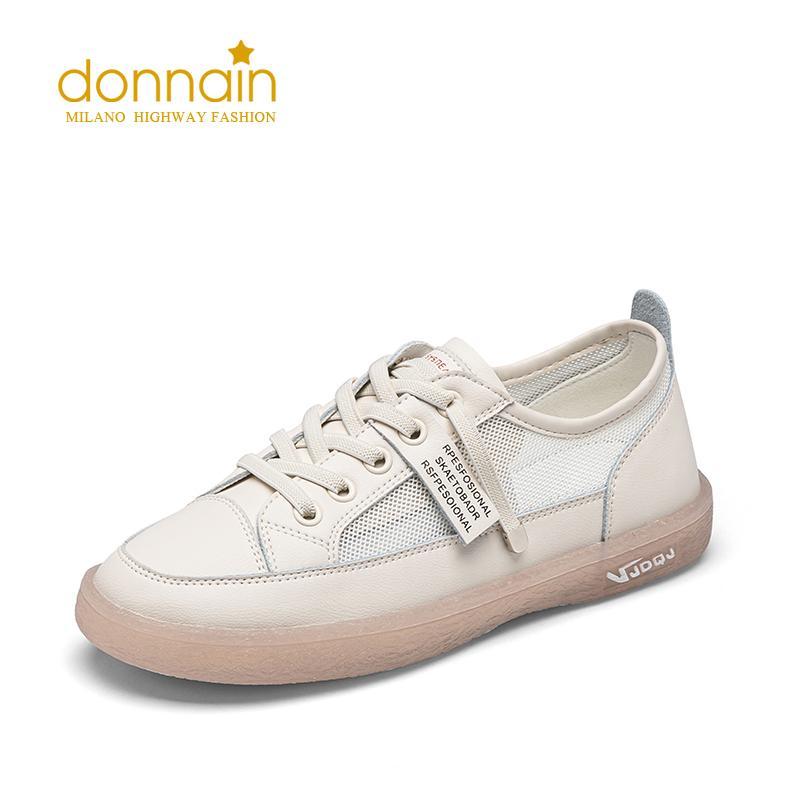 Autunno scarpe basse di DONNAIN 2020 Fashion Women punta rotonda tacco basso Calzature quotidiane da donna della scarpa da tennis elastico Lacci Verde Beige