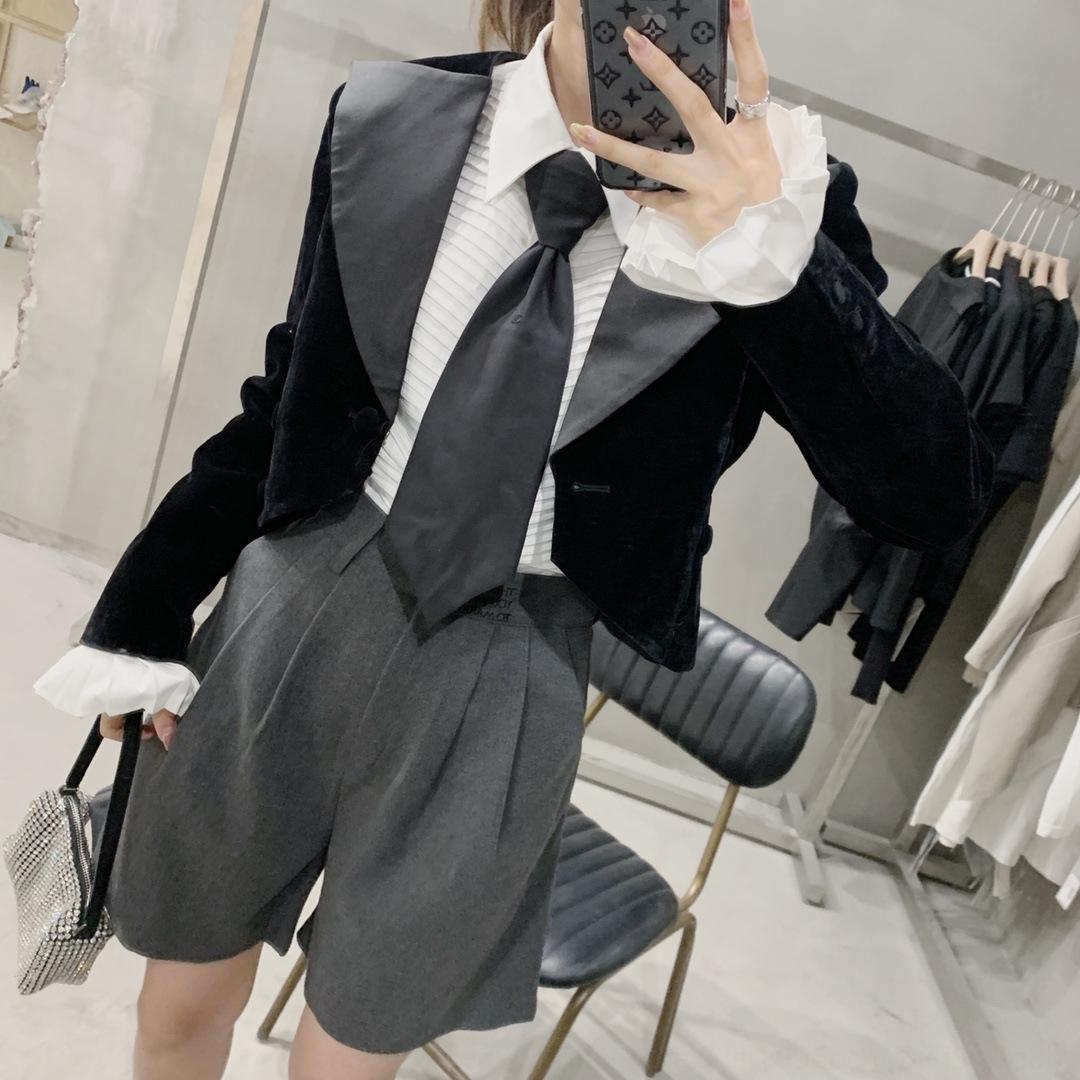 kMw31 court velours veste style britannique haut noir petite veste de costume pour les femmes 2020 Anticipée costume noir occasionnel revers Automne Nouveau