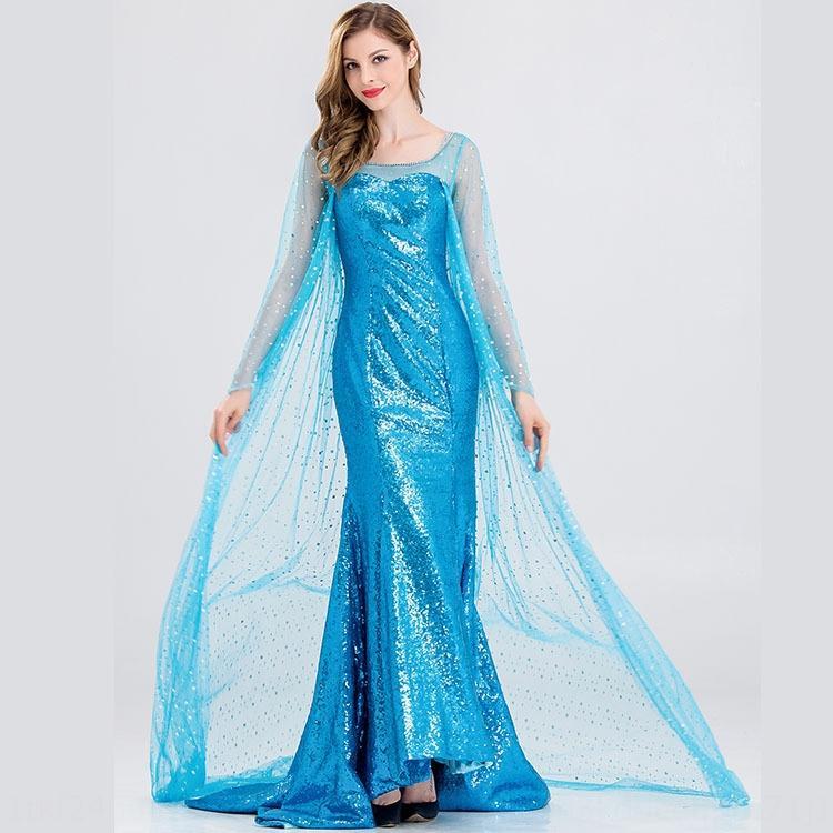 neRsm congelado adulto de mangas compridas sequin strapless princesa vestido de cosplay vestido de princesa