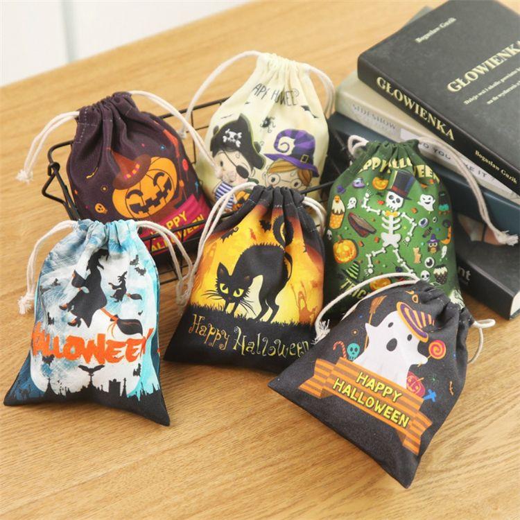 6 Art Halloween-Süßigkeit Tunnelzug Süßigkeit Tasche Kürbis-Hexe-Katzen-Schädel Printed Canvas-Taschen Happy Halloween Schmuck Geschenk-Taschen JJ777