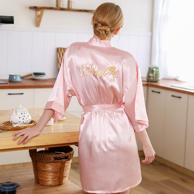 FZSLCYIYI boda novia dama de la flor de Rose + cortocircuito del bordado del traje de baño del vestido de verano Kimono Yukata camisón pijama Camisón