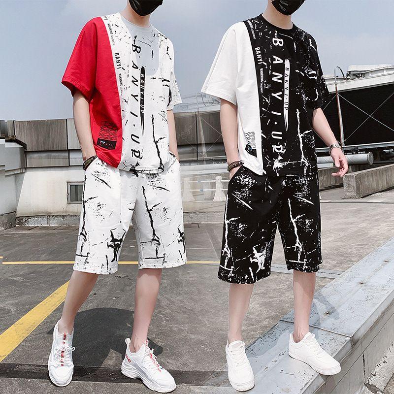 Новая мода лето Мужчины спортивный костюм с коротким рукавом Футболка + шорты Hip Hop Спортивная Two Piece Set For Men костюмы T200821