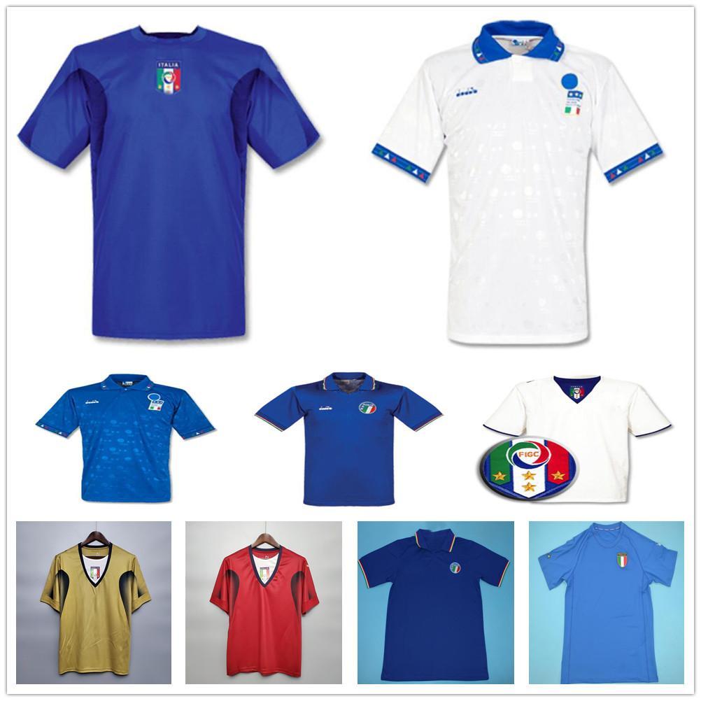 1990 2006 Retro Italy Soccer Jersey Maldini Baggio Donadoni Schillaci Totti Del Piero Pirlo buffon 86 90 94 00 06 Custom Football Shirts