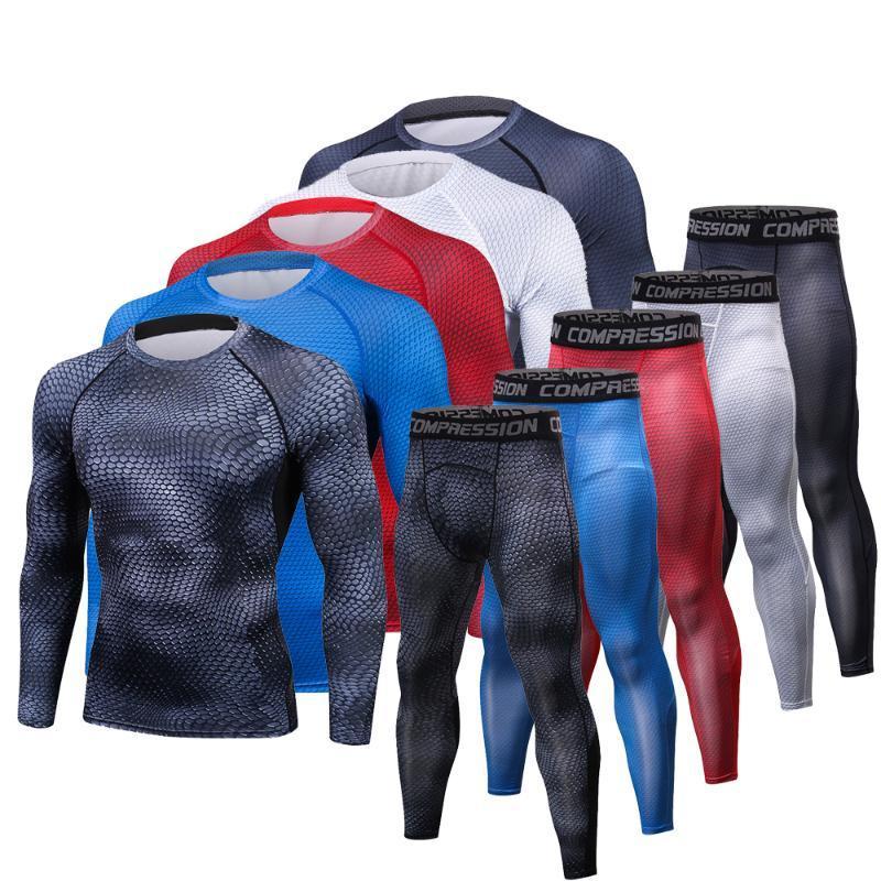 Gli uomini magliette pantaloni Set 2 pezzi Sportswear compressione uomini del vestito jogging Base Fitness shirt strati delle ghette Rashguard Abbigliamento