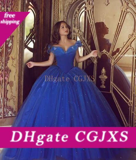 Cinderella Quinceanera Dresses Blue Off The Shoulder Big Ball Gown Lace -Up Puffy Tulle Prom Gowns Dress Gown