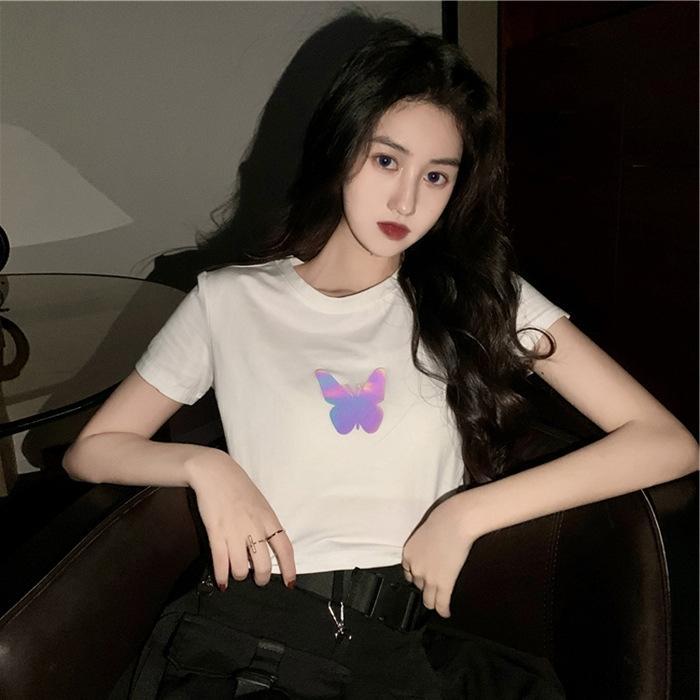 célébrité Internet de l'été même à manches courtes réfléchissant papillon t-shirt papillon courtes T-shirt haut ombilicale petite amie couple de femmes
