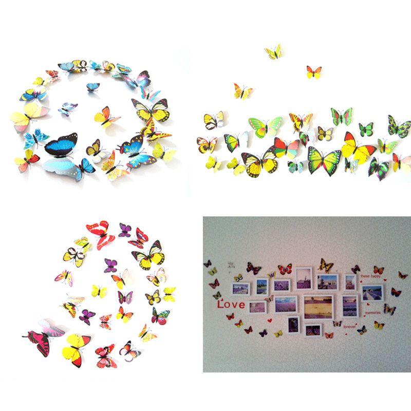 12шт / серия Творческий ПВХ 3D бабочки стены наклейки холодильник магнит DIY стикер стены Home Decor Art Дети номера Украшение