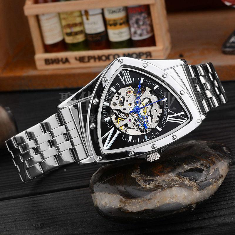 Caratteristiche Caratteristiche cavità Triangolare orologio meccanico in acciaio inox da polso da uomo in acciaio inox moda marchio uomo orologio Dropshipping maschile !!!
