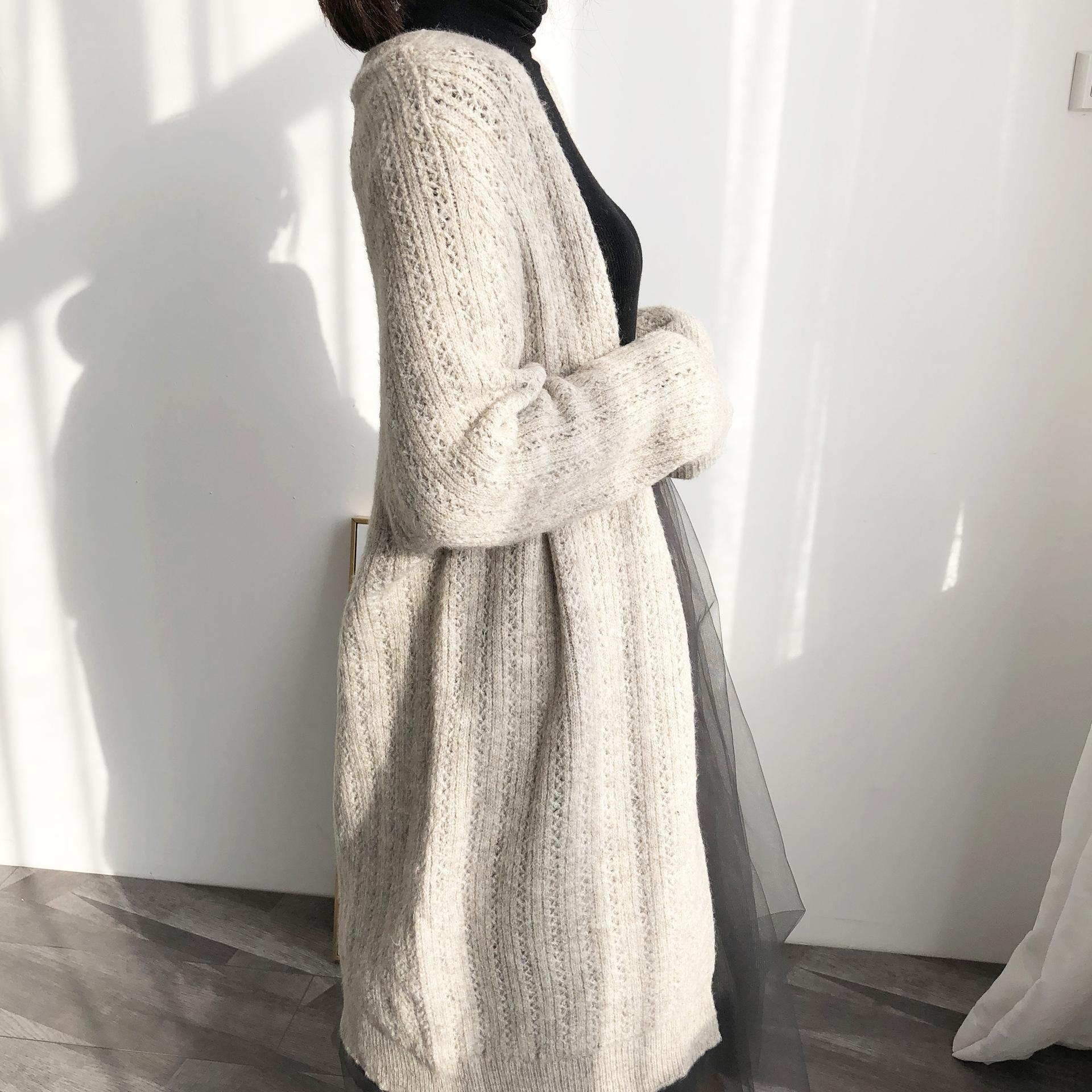 Jia Zhi 8-1978 frühe Herbst 2020 faul Wind weich wachsartig lose mittellange Strickjacke Mantel Pullover Pullover Mantel für Frauen