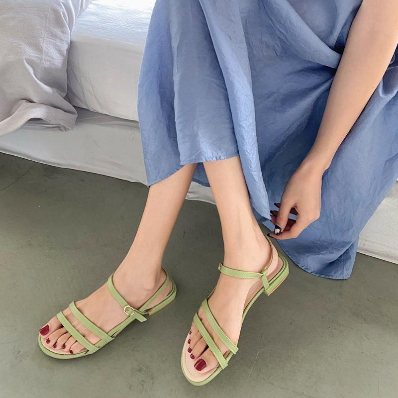 Yeşil kadınlar Ayakkabılar Sandalet Ayakkabı 2020 Kadınlar Sandalet Daire Casual Kadın Yaz Tatili Kadınlar Plajı