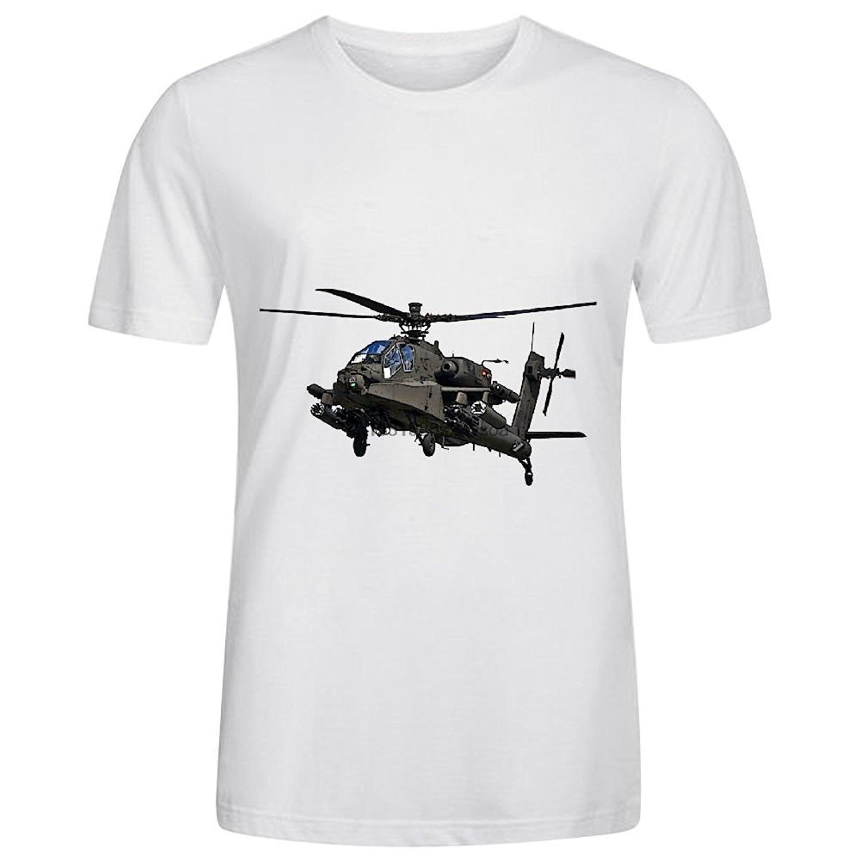 Personalizzato Boeing AH-64 Apache elicottero da combattimento uomo magliette del cotone O Collo bianco