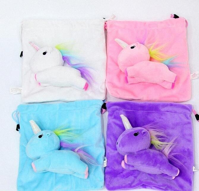 Chicas Mujeres juguete lindo unicornio con asas de felpa de dibujos animados del unicornio bolsas de viaje bolso de la moneda de maquillaje Bolsa 21 * 19cm KKA3106 Td8N #