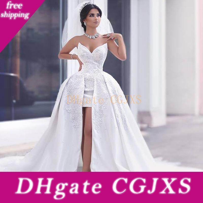 2018 New Arrival Vintage Arabic Dubai Lace Sheath Wedding Dresses Detachable Train Sweetheart Applique Wedding Gowns Bridal Dress