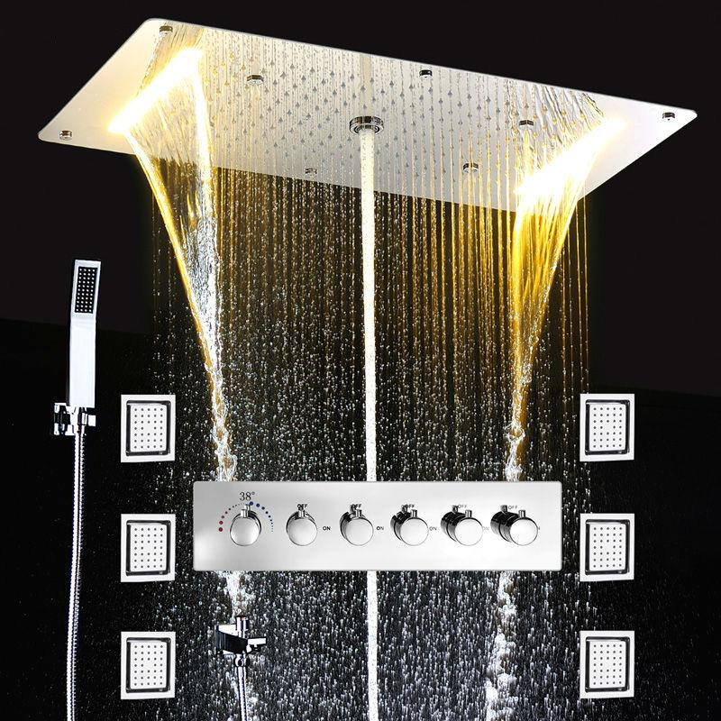 현대 LED 천장 샤워 헤드 다기능 욕실 샤워 세트 임베디드 마사지 강우 폭포 큰 비 온도 조절 샤워 수도꼭지