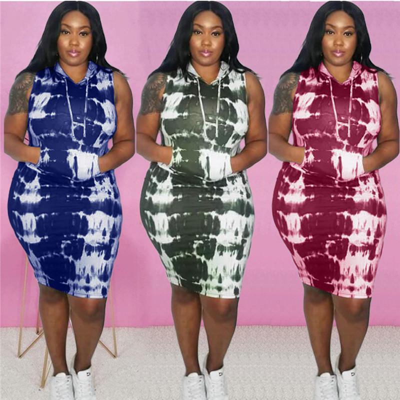 Verano de las mujeres diseñador de vestir Deportes del tinte del lazo sin mangas con capucha Impreso vestido de cuello más el tamaño de Ropa