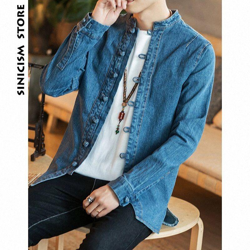 Sinicism Mağaza Jean ceketler Erkekler demineralize Ceket Retro Erkek Katı Erkek Streetwear Çin Tarzı Fahions Düğme WINDBREAKER 2019 vnND #