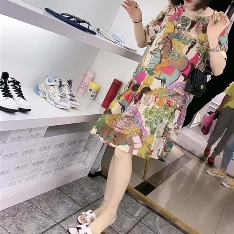 vestito Forte 97 nuovo vestito da estate motivo stampato Ma Dao successo sciolti Corea mezzo manicotto delle donne