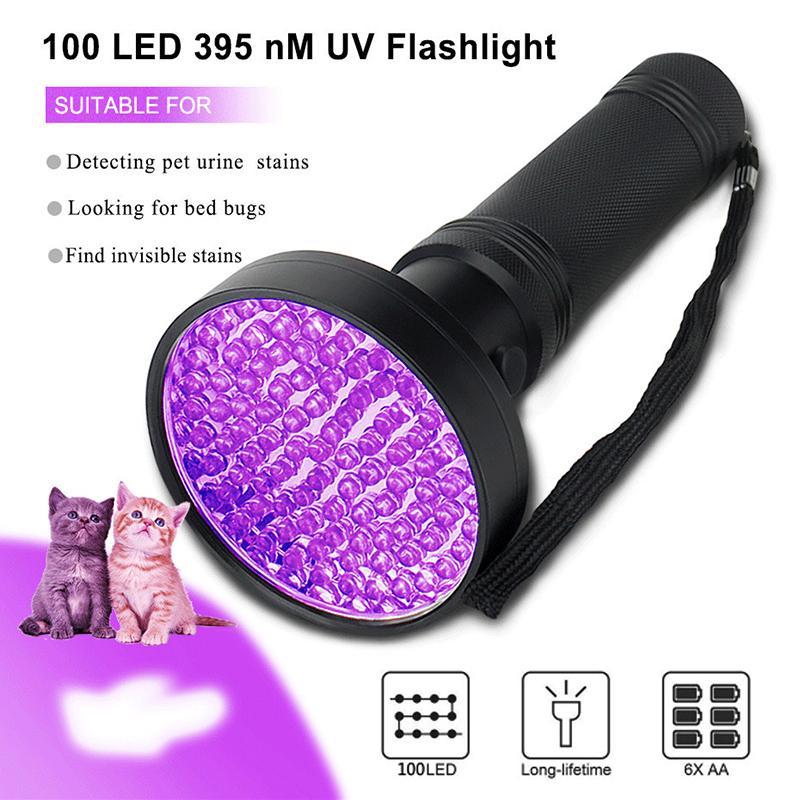 손전등 횃불 UV 검은 빛, 100 LED 395 NM 건조 애완 동물을위한 자외선 토치 블랙 라이트 탐지기 urierpet 잃어버린 버그 배터리