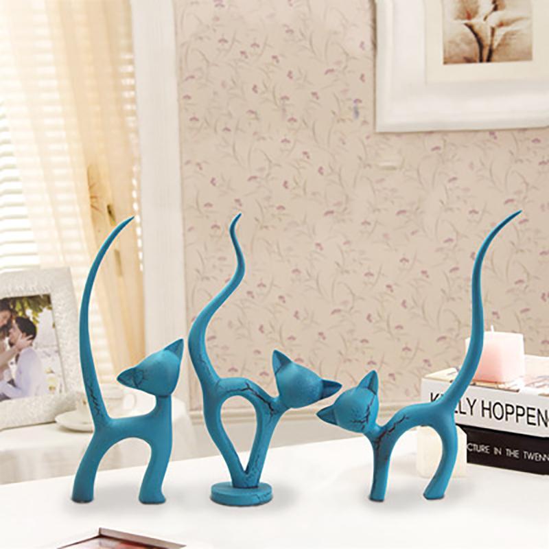 3adet Modern Basit Kedi Modeli heykelcik Süsleme Reçine Craft Yapay Kırmızı Kedi Minyatür Ev Dekorasyonu Aksesuarlar Salon Dekor