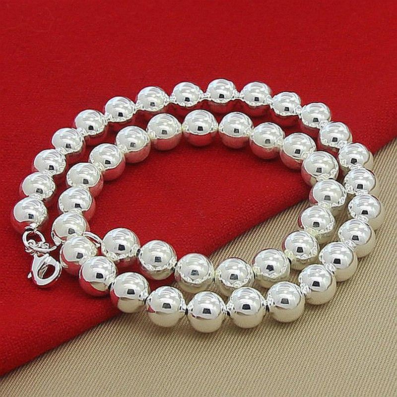 Di alta qualità 925 monili d'argento Neklace 6 millimetri rotonda di 8mm Perle collane monili di lusso per le donne regalo
