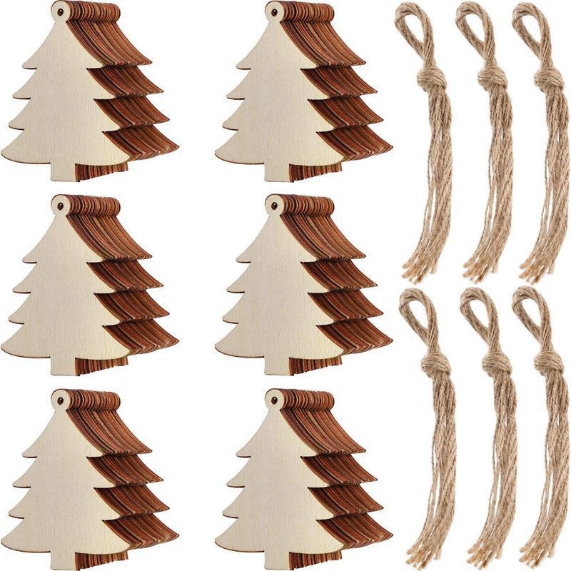Decorações de Natal 60 peças Halloween Fatias De Madeira Presente Tags em branco De Madeira Pendurado Ornamento De Ornamentos Artesanato Com Twine Ropes para Ki