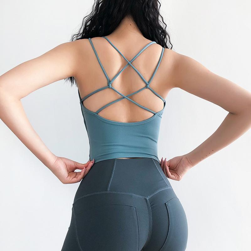 Seksi Çapraz sapanlar Gym Spor Bra Kadınlar Kablosuz Yoga Fitness Üst yastıklı Push Up Yoga Sütyen Mahsul En Aktif Spor