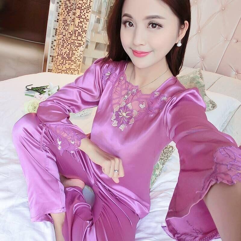 Kadın pijamalar ilkbahar ve sonbahar buz ipek pijama kadın uzun kollu elbise ev hizmeti iki parçalı ipek büyük boy Koreli pijama
