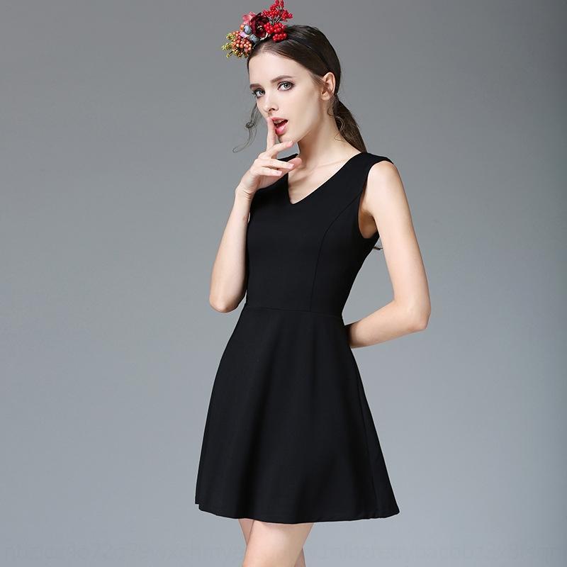 HjxSW forme Hepburn jupe noire gilet jupe 2020 mince nouveau dîner fête d'été V-cou robe grande taille creux de la vague A fd4IK robe gilet