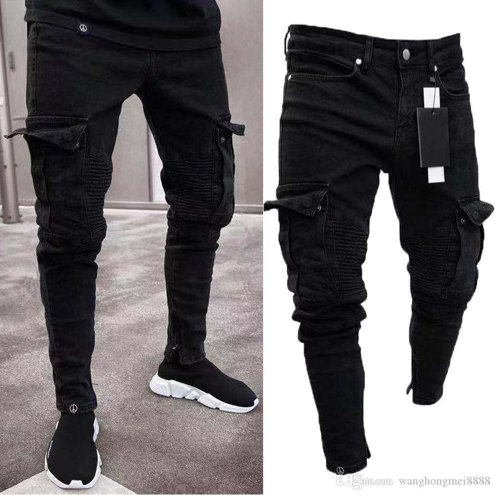 Moda Siyah Jean Erkekler Denim Skinny Biker Jeans Tahrip Yıpranmış Slim Fit Pocket Kargo Kalem Pantolon Artı boyutu S-3XL