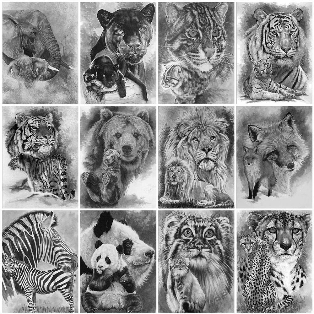 Evershine 5D DIY Алмазный вышивки Тигр Белый Черный алмаз Картина Животные Лев Вышивка крестом Мозаика Домашнее украшение