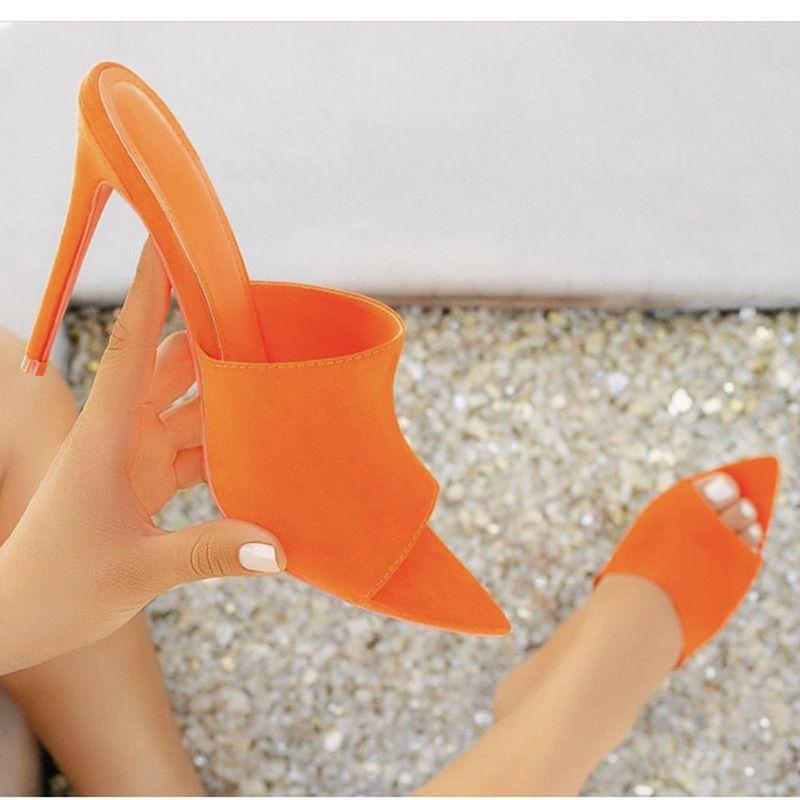 Pointu talon haut Sandales Femme Chaussons Chaussures Vert Bonbons Orange Bleu Nu Blc Chaussures Femme Sandalias Mujer 2019 Feminina Y200620