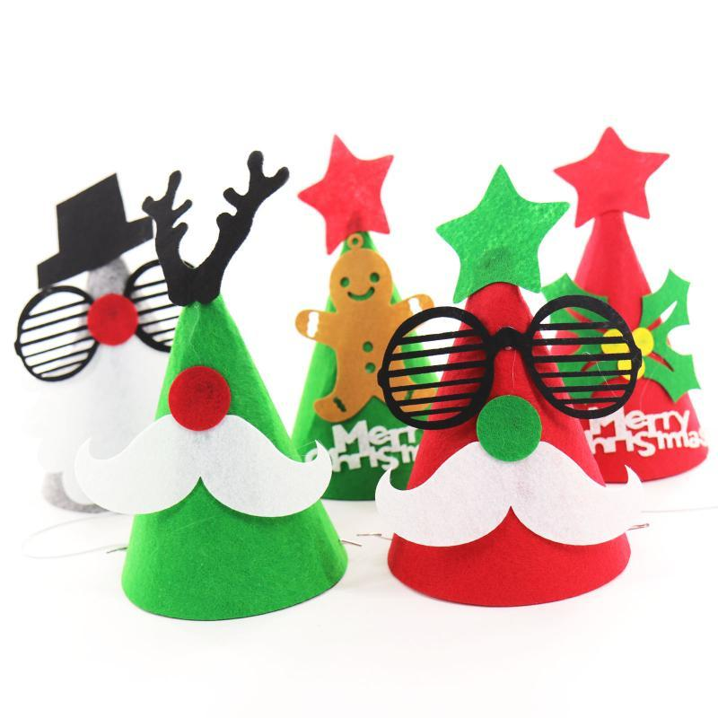 14x18.5cm DIY войлока украшения Christmas Hat Санта Cap Снеговик Рождество Форма для взрослых Детские украшения Caps Party Decor Supplies