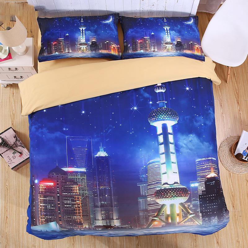 침대 시트 실물 밤 3D 침구 세트 인쇄 이불 커버 세트 트윈 퀸 왕 아름 다운 패턴 실제 효과