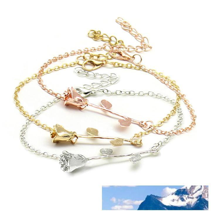 Regalo B029 Giorno Oro Argento della ragazza delle donne del braccialetto di fascino romantico della Rosa Fiore catena placcata braccialetto regolabile Fine Jewelry di San Valentino