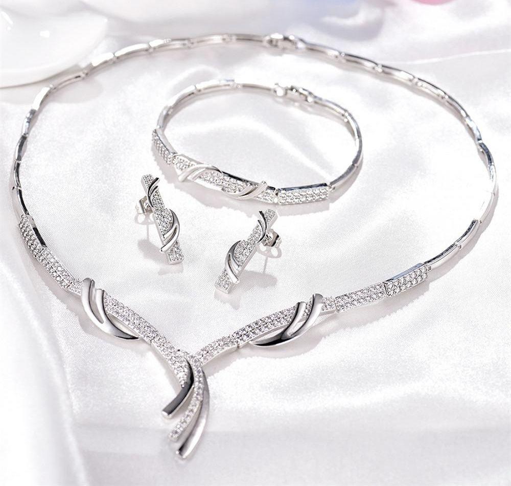 MOLIAM Люкс Свадебные комплекты ювелирных изделий Женщины Кристалл Кубический циркон Engagment серьги браслет ожерелье Set003